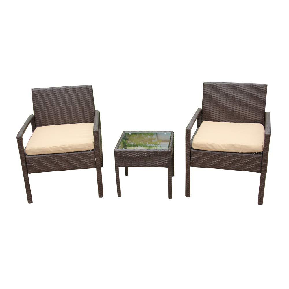 ALEKO RTF005BR Rattan Wicker Furniture 3-Piece Indoor Outdoor Bistro Coffee Table Set Brown