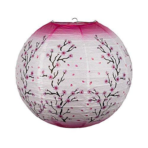 Quasimoon PaperLanternStore.com 14 Inch Pink Cherry Blossom Tree Japanese Paper Lantern -