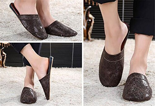 Anti Slippers Summer European Couple Slippers Autumn TELLW Dark Spring Brown Home Retro Wooden Sliding and Home Floor Winter XZwOFXq