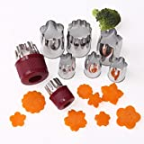 8PCS Decorative Flower Shape Supprt, Gotd Stainless Steel Cake Vegetable Fruit Cutter Mold Tool for Baby Adult Food (Silver)