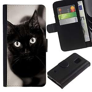 EuroCase - Samsung Galaxy S5 V SM-G900 - black cat eyes Bombay chartreux - Cuero PU Delgado caso cubierta Shell Armor Funda Case Cover