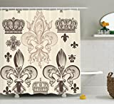 Ambesonne Fleur De Lis Decor Collection, Heraldic Pattern with Fleur De Lis and Crowns Tiara Iris Flowers Coat of Arms Knight, Polyester Fabric Bathroom Shower Curtain Set, 75 Inches Long, Beige Tan