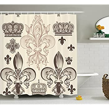 Ambesonne Fleur De Lis Decor Collection Heraldic Pattern With And Crowns Tiara Iris Flowers Coat Of Arms Knight Polyester Fabric Bathroom