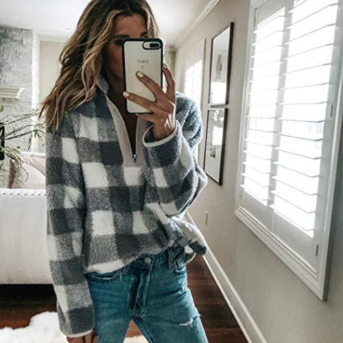 Rampmu Women Casual Long Sleeve Zip Plaid Pullover Sweatshirt Outwear Coat Fashion Hoodies