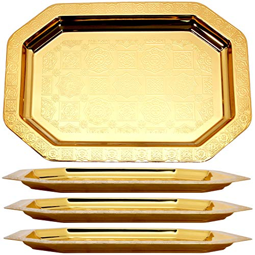 Maro Megastore (Pack of 4) 18.1-Inch x 12.6-Inch Octagonal Vintage Iron Gold Plated Serving Tray Edge Bricks Engraved Decorative Holiday Wedding Birthday Buffet Party Food Snack Wine 709 M Tla-062