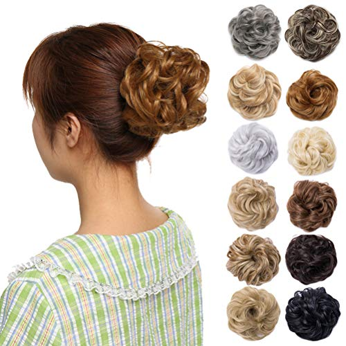 Scrunchy Updo Wavy Straight Hair Bun Clip Messy Donut Chignons Synthetic Hairpiece Hair Extension (dark blonde-thicker)