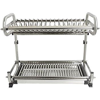 "Amazon.com: 2-Tier Kitchen Cabinet Dish Rack 19.3"" Wall ..."