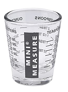 Mini Measure Multi-Purpose Liquid and Dry Measuring Shot Glass, Heavy Glass, 26-Incremental Measurements for Teaspoons, Tablespoons, Ounces and Milliliters