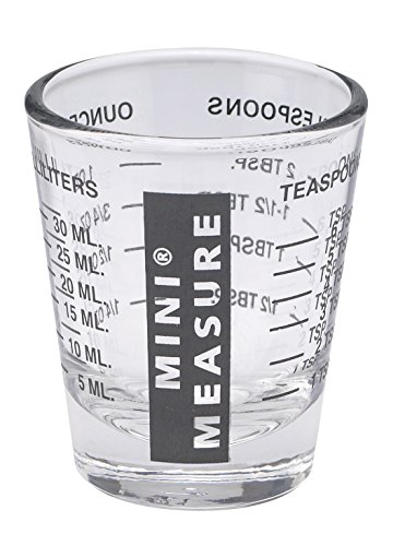 Kolder 13211BLK Mini Measure Heavy Glass, 20-Incremental Measurements Multi-Purpose Liquid and Dry Measuring Shot Glass, Black