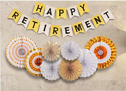 Retirement Party Decoration, Happy Retirement Decorative Banner, Happy Retirement Banner Bunting, Retirement Party Supplies Favors Gifts and Decorations (Gold)