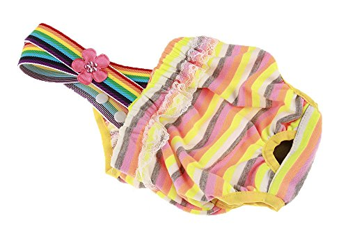 Image of OCSOSO Pack of 2 Pet Dog Cat Physiological Shorts Doggy Kitten Underwear Pants Diapers Strip Design Tighten Strap Sanitary Briefs Panties for Puppy Kitty Color at Random (L)