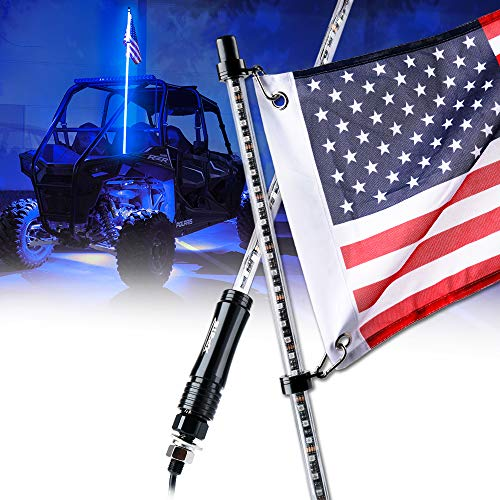 Xprite 5ft (1.5M) LED Whip Lights Waterproof Flag Pole Safety Antenna with Flag for Can Am Maverick X3 Sand Dune Buggy UTV ATV 2020 Polaris RZR XP 4X4 Offroad Truck Jeep 4 Wheels - BLUE