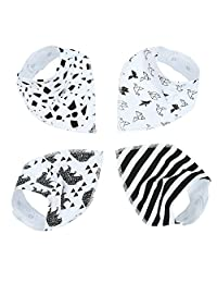 Leegoal(TM) Unisex Cute Waterproof 100% Cotton Soft Baby Bandana Drool Saliva Towel Bibs with Snaps , 1 Set/4 Pieces