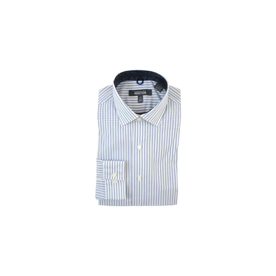 Kenneth Cole Reaction Mens Slim Fit Stretch Dress Shirt, Double Stripe