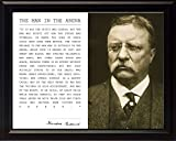 Theodore Teddy Roosevelt the Man in the Arena Quote 8x10 Framed Picture (Sepia Style Unique Photo)