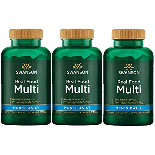 Real Food Multi Men s Multivitamin Multimineral Men s Health Prostate Stress Response Bladder Support Supplement Vegan Gluten-Free Non-GMO 90 Veggie Capsules Veg Caps 3 Pack