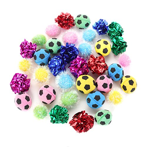 PUPTECK 36 packs Assorted Color Cat Ball Toy Set - Crinkle Balls/Sparkle Balls/Sponge Soccer Balls ()