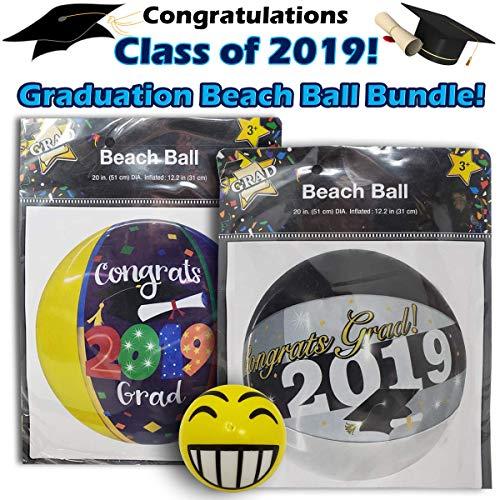 Class of 2019, Beach Ball Graduation Party Bundle, Includes 2 Different Beach Balls and a Fun Emoji Stress Ball