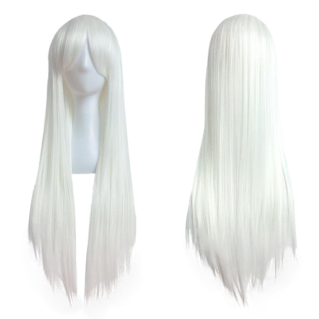 Certainer Hair Wigs, Long Straight Hair Wig Synthetic Natural Hairpiece For Women Heat Resistant Fiber Hair (White)