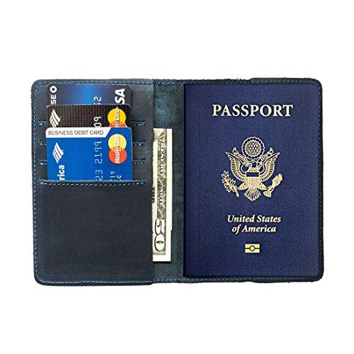 Durable Leather Passport Holder Handmade by Hide & Drink :: Slate Blue (Guatemala Cover)