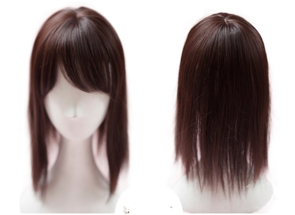Women's Hair Toppers Clip in Top Hairpiece Toupee with Side Bangs for Thin Hair (Dark Brown Thick) Yair Yangtze
