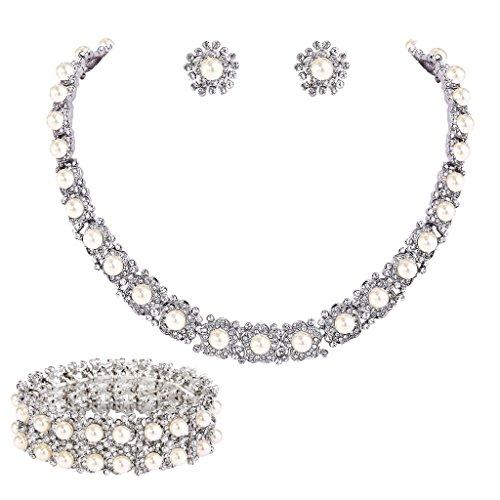 (EVER FAITH Women's Crystal Cream Simulated Pearl Flowers Necklace Stud Earrings Bracelet Set Clear)