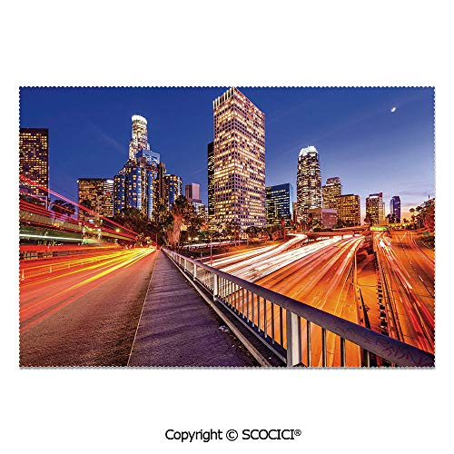 SCOCICI Set of 6 Heat Resistant Non-Slip Table Mats Placemats USA Downtown City Skyline Over The Highway Los Angeles California Travel Destination for Dining Kitchen Table Decor -