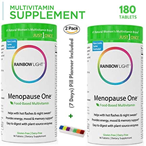 Rainbow Light - Menopause One Food-Based Multivitamin (2 Packs of 90 Tablets) - Helps with hot Flashes & Night Sweats, Energy, Mood & Memory Support, Bone, Breast, Heart, Brain, Skin, Bladder