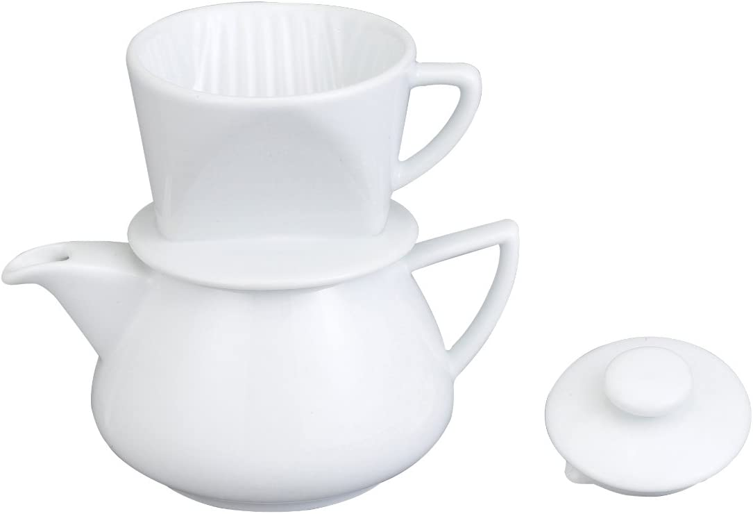 HIC Harold Import Co. Coffee Maker - Drip with Pot, White Porcelain 19oz. NT1044-HIC
