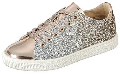 Cambridge Selezionare Donna Tondo Punta Allacciata Ombre Glitter Flatform Fashion Sneaker Oro Rosa
