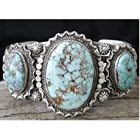 Phetmanee Shop Tibetan 925 Silver Ring Turquoise Three Gems Delicate Lady Party Jewelry Rings (9)