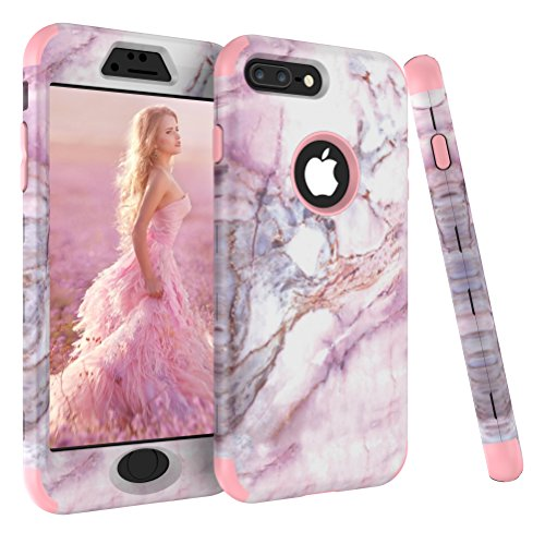 iPhone 8 Plus Case, AOKER [Marble Design] [Pink Series] Slim Dual Layer Anti-Scratch &Fingerprint ShockProof Hard Back Cover Soft Silicone Full-Body Protective Case Fit for iPhone 8 Plus (Rosegold) (Case Victoria)
