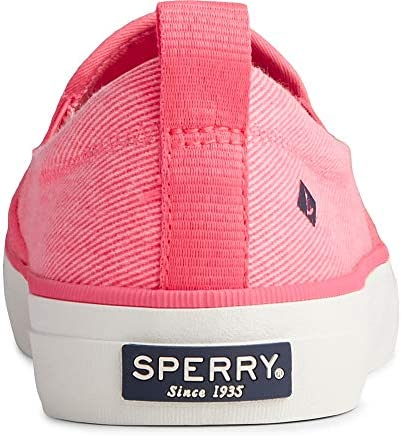 Sperry Women's Crest Twin Gore Washed Twill Sneaker, Neon Pink, 8 M US