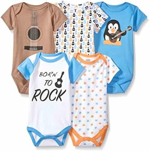 Luvable Friends Baby Infant Basic Bodysuit, 5 Pack, Penguin Guitar, 6M(3-6 Months)