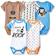Luvable Friends Baby Infant Basic Bodysuit, 5 Pack, Penguin Guitar, 3M(0-3 Months)