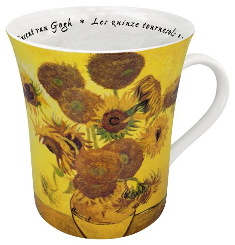 Konitz 12-Ounce Les Fleurs Chez Les Peintres Van Gogh Mugs, Set of 4 ()
