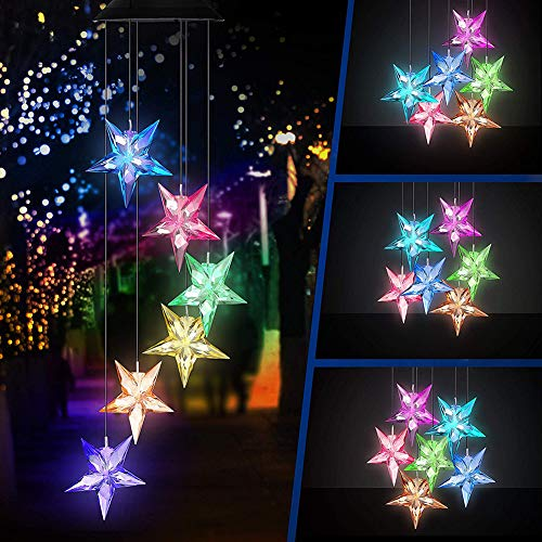 Studyset Wind Chime Color Changing Solar Powered Wind Bell Pentagonal Star LED Lamp Portable Waterproof Outdoor Decorative Romantic Wind Bell Light - Hello 1 Light Pendant
