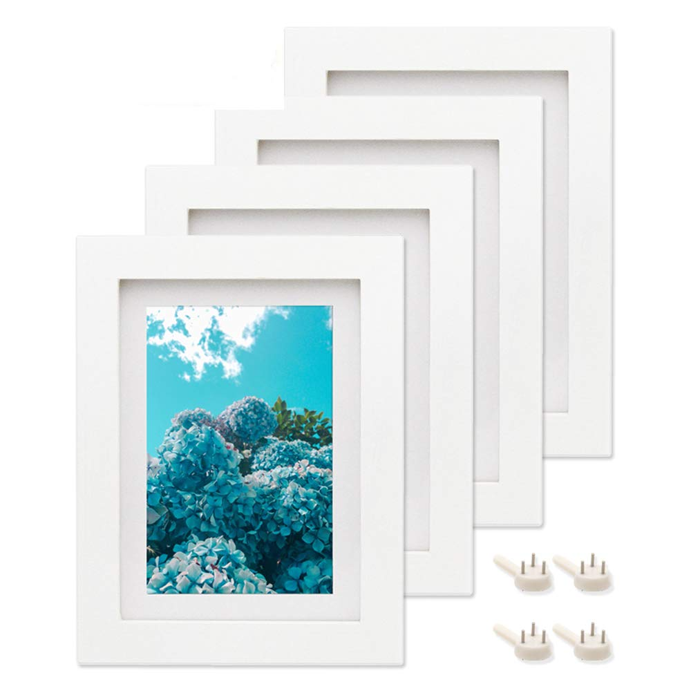 Afuly 5x7 White Picture Frames Set of 4 Wood Mat to fit 4x6 Photo for Wall Gallery and Table Top - Mounting Material Included - - Made of Solid Wood & 2mm Thick Plexiglass