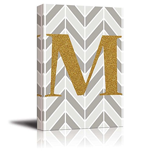 The Letter M in Gold Leaf Effect on Geometric Background Hip Young Art Decor