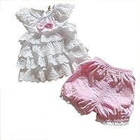 Comemall Kids Baby Girls Tops Polka Dot Lace Shirts T-shirt Shorts Pants Outfits Sets