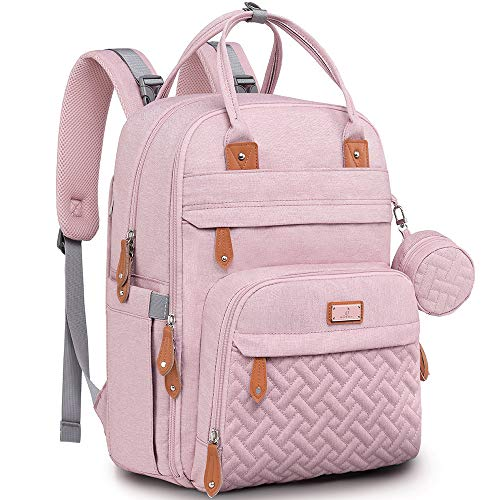 Diaper Bag Backpack, BabbleRoo Baby Nappy Changing Bags Multifunction Waterproof Travel Back Pack with Changing Pad & Stroller Straps & Pacifier Case, Unisex and Stylish (Pink)