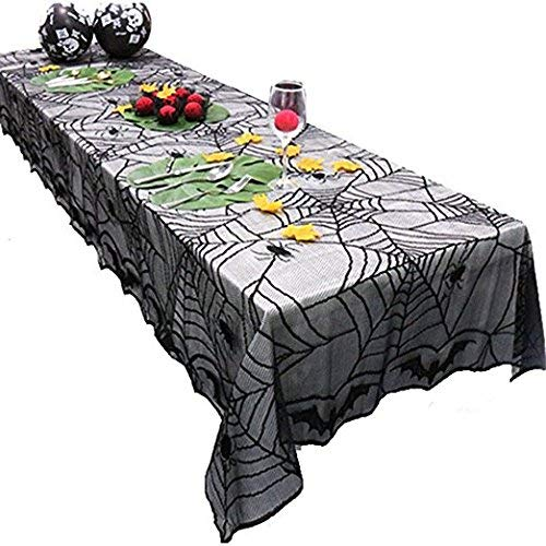Zoopwon Halloween Lace Tablecloth/Mantle Cover,Black Lace Spiderweb for Festive Halloween Parties, Decoration (Tablecloth A)