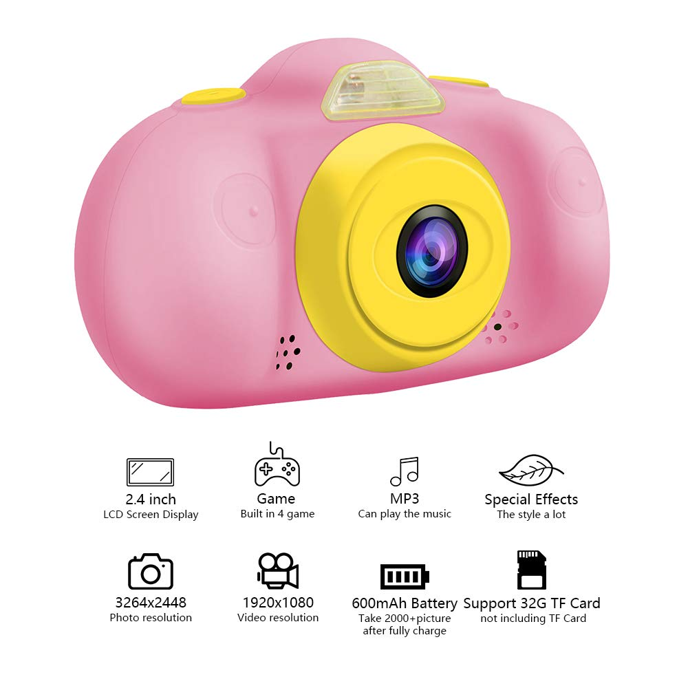 Huaker Kids Camera ,2.4Inch Screen Digital Camcorders Camera Rechargeable 8MP Children's Camera with Silicone Soft Cover for 3-10 Year Old Boys Girls Party Outdoor Play by Huaker (Image #2)