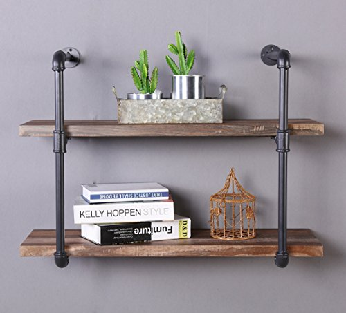 Homissue 2-Shelf Rustic Pipe Shelving Unit, Vintage Industrial Pipe Wall Shelf, Retro Brown (2 Pipe Dimensions)