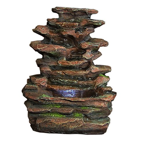 Sunnydaze Soothing Rock Falls Tabletop Fountain with LED Lights, 15 Inch Tall