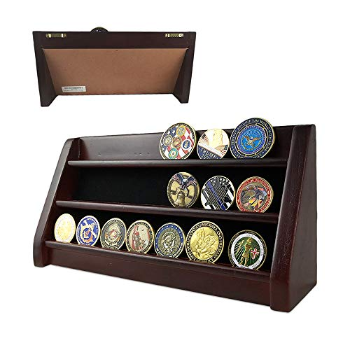 Coin Display Row (AtSKnSK 3 Rows Shelf Challenge Coin Display Stand Casino Chip Holder Rack, Mahogany Finish)