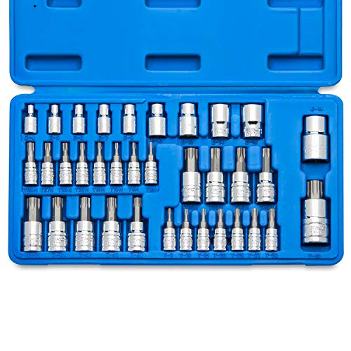 Neiko 10070A Torx Bit Socket and E-Torx Star Socket Set | 35-Piece Set, S2 and Cr-V Steel, 1/4