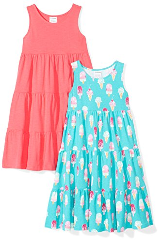 Spotted Zebra Girls' Big Kid 2-Pack Knit Sleeveless Tiered Dresses, Ice Cream, Medium (8) -