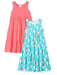 Spotted Zebra Girls 2-Pack Knit Sleeveless Tiered Dresses