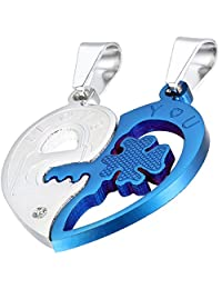 """Flongo Men's Womens 2PCS Heart Matching Stainless Steel """"I Love You"""" Lock & Key Valentine Couples' Gift Pendant Necklace"""